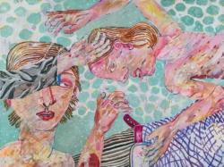 Des Pudels Kern, 2019, Acryl, Tusche, Pigmentstift auf Leinwand., 120 x 160 cm