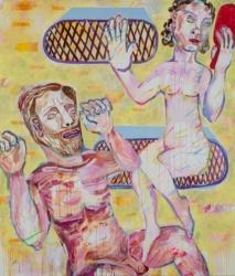 Mirroring, 2019, Acryl, Tusche, Pigmentstift auf Leinwand, 140 x 120 cm