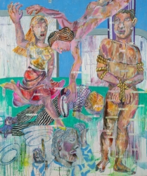 Der Sprung, 2019, Acryl, Tusche, Pigment auf Leinwand, 180 x 150 cm