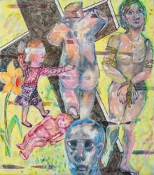 Unter der Narzisse I, 2019, Acryl, Tusche, Pigmentstift auf Leinwand, 80 x 70 cm