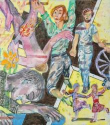 Unter der Narzisse II, 2019, Acryl, Tusche, Pigmentstift auf Leinwand, 80 x 70 cm