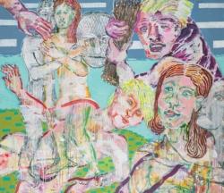 Was tun mit Kain, 2019, Acryl, Tusche. Pigmentstift auf Leinwand, 130 x 150 cm