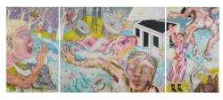 Panorama, vierteilig, (Altarflügel geöffnet), 2020, Acryl, Tusche, Pigmentstift a. Lwd.,180 x 440 cm