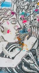 Bildfindung und Skizze klein zu Panorama, 2019, Graphit, Tusche, Aquarell, Pigmentstift, Acryl a. Papier, 64 x 44 cm – Linker Flügel