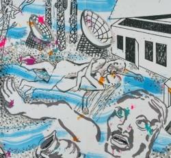 Bildfindung und Skizze klein zu Panorama, 2019, Graphit, Tusche, Aquarell, Pigmentstift, Acryl a. Papier, 64 x 44 cm – Mittelteil