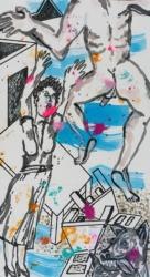 Bildfindung und Skizze klein zu Panorama, 2019, Graphit, Tusche, Aquarell, Pigmentstift, Acryl a. Papier, 64 x 44 cm – Rechter Flügel