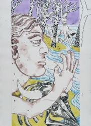 Bildfindung und Skizze groß zu Panorama, 2020, Graphit, Acryl, Pigmentstift a. Papier,, 106 x 88 cm – Linker Flügel