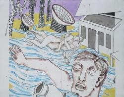 Bildfindung und Skizze groß zu Panorama, 2020, Graphit, Acryl, Pigmentstift a. Papier,, 106 x 88 cm – Mittelteil