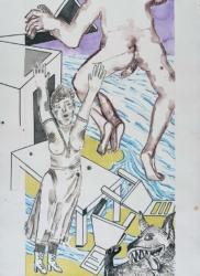 Bildfindung und Skizze groß zu Panorama, 2020,Graphit, Acryl, Pigmentstift a. Papier,, 106 x 88 cm – Rechter Flügel